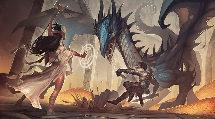 Dragón contra hechicera